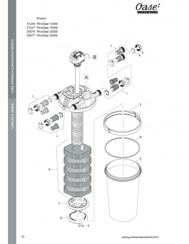 Filtoclear 16000 Oase vue filtre (pièces détachées)